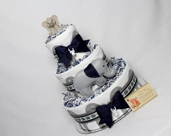 Baby Diaper Cake Elephants Gray and Navy Boys Shower Gift Centerpieces