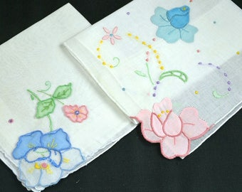 Lot of 2 Embroidered White Hankies Hand Rolled & Corded Hems Flower Applique Pastel Pink Blue Yellow Green Cotton Excellent Condition Bridal