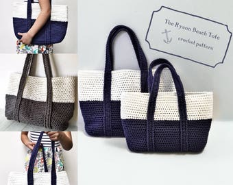 Crochet Pattern, Crochet Bag Pattern, The Ryann Easy Colorblock Beach Tote, Easy Bag Pattern, Crochet Pattern, Handbag Pattern