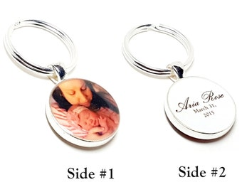 Double Sided Custom Photo Keychain. Create Your Own. Personalized With Your Choice of Photos, Quotes, Names and Dates. Gifts For Her or Him.