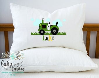 Personalized Pillow case, Tractor pillow, Green Tractor, Little Boy's Room, Room Decor, Farmer Pillowcase, Child's Pillowcase, Boy's Room