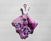 Vintage Hanky Dress with purple floral hanky and embossed white bodice