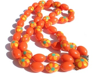 """Mod Double Strand Necklace Bright Tangerine Orange with Groovy Yellow Flowers & Green Centers - 20"""" Long Vintage Jewelry"""
