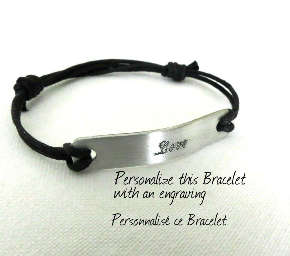 Unisex Engraved Bracelet, Engraving Included In Price, Personalized Bracelet,  Adjustable, Id Bracelet, Bracelet For Men, Medical Bracelet,