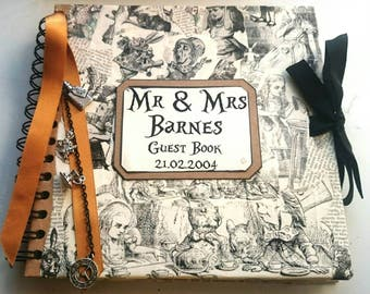 Alice In Wonderland Inspired Geek Guest Book Perfect For Themed Weddings Unique and Fun for a Fan Personalised
