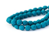 Saturated Navy Blue Faceted Round Spacers, Matte Opaque Blue Fire Polished Czech Glass Beads, 6mm x 25pc (0017)