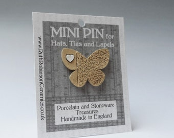 Butterfly pin button stoneware and porcelain mini art for wearing on hats, ties and lapels