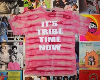 Handmade Bleach Tie Dye T Shirt - It's TRIBE TIME NOW Tie Dyed TShirt. Pink Discharge Dyed Top. xl