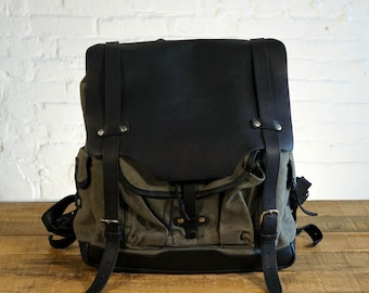 "GENTLY USED - 15"" Laptop Backpack - Olive Green with Galloper Black (see photos)"