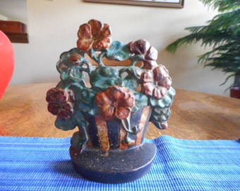 "Cast Iron Doorstop, Hubley ""Nasturtiums"" #221 or National Foundry #63 c.1920"