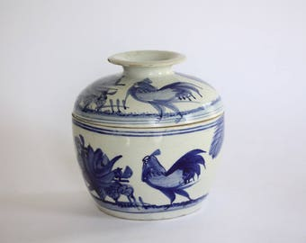 Antique Blue and White Chinese Ceramic Rice Pot, Ginger Jar, Covered Dish, Bowl