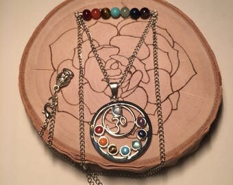 Om Chakra Pendant Necklace with Gemstone Beads