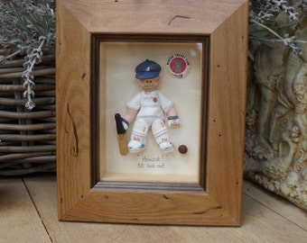 PERSONALISED SPORTSMAN Gift,  Golf, Fisherman, Cricket, Football, Rugby, Snooker, Birthday, Father's Day,  Polymer Clay Framed Character