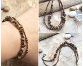 Gemstone Beaded Double Layer Bracelet, Boho Bracelet