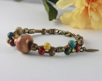 LEATHER BRACELET EARTHTONE Colors Antique Brass Charms