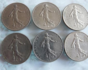 1960s Vintage French Franc Coins Lot of Six Seed Sower Design