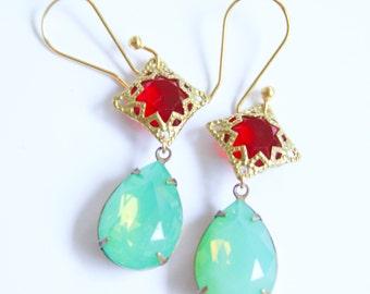 Vintage Jade Green and Red Rhinestone Pear Tear Drop Drop Dangle Earrings  ~ Wedding, Christmas, Bridal, Bridesmaid,