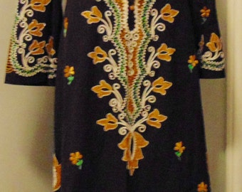 Heavily Hand Embroidered Vintage Woodstock Hippie Caftan Coat
