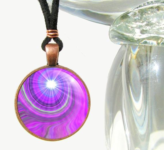 "Violet Swirl Pendant, Reiki Jewelry, Crown Chakra Third Eye Pendant ""Intuition"""