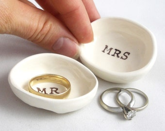handmade WEDDING RING HOLDER gift for bride & groom gift for couple wedding gift bridal shower gift anniversary gift mr and mrs ring holders