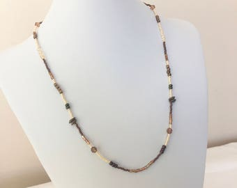 Brown and Cream Beaded Necklace, Brown Seed Bead Necklace, Cream Seed Bead Necklace, Earth Tone Necklace, Natural Tone Necklace, Necklace