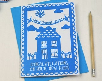 Congratulations On Your New Home Papercut Style Printed Card, Home Sweet Home