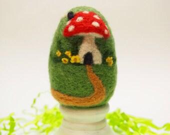 Needle Felted Egg - Home Sweet Home Mushroom House - Easter Egg