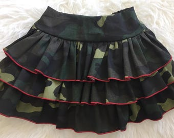 Army camo camouflage ruffle skirt available in sizes 12 months to 8 years LAST ONE