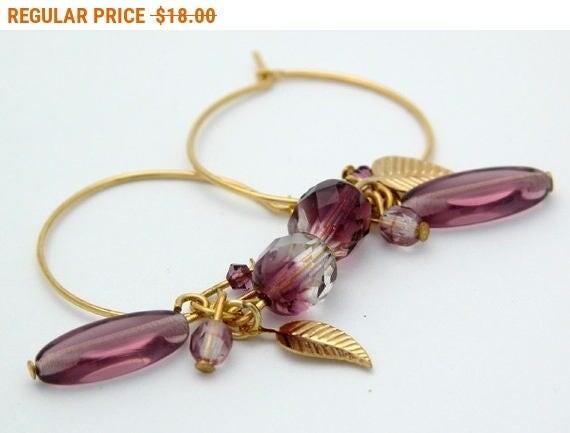 SALE - Amethyst Birthstone Earrings,Hoop Earrings,Bead Earrings,Gold Hoops Earrings,Gold Leaf Earrings