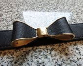 Vintage black bow gold lined stretch belt, cute black and gold medium bow belt