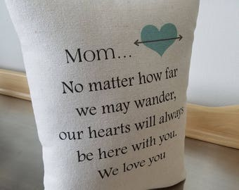 Mom pillow throw pillow mother birthday gift canvas pillow gift from us long distance gift home decor mama we love you keepsake cushion