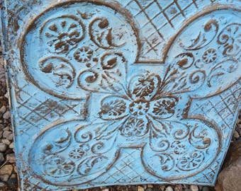 Vintage architectural  tin ceiling tile shabby,chippy rustic tin ceiling tile