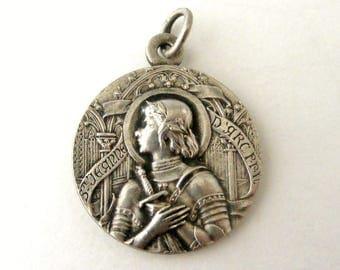 Antique French Joan of Arc art nouveau round medallion pendant