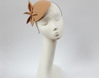 Camel BeigeWool Felt  Fascinator, Mini Hat with the Veil