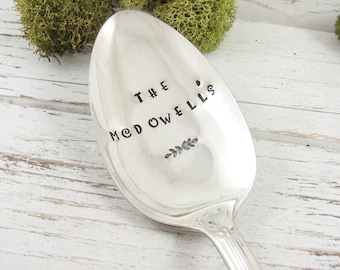 Personalized Serving Spoon. Hand Stamped with Your Choice of Name. Great for a Hostess or Housewarming Gift. Kitchen and Party Decor. 094HOL