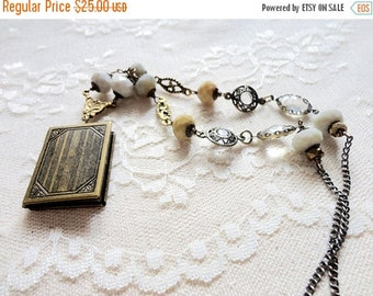30% OFF CHRISTMAS SALE Large antiqued bronze book locket necklace with mustard yellow and opaque grey glass beads, Reading List