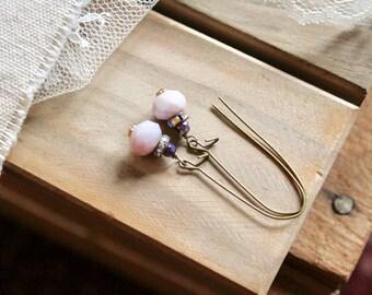 Satin deep lavender, rhinestone, and pale lavender bead drop earrings, kidney wire earrings