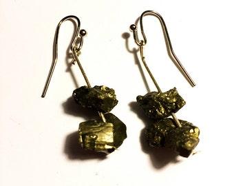Pyrite Crystal Earrings