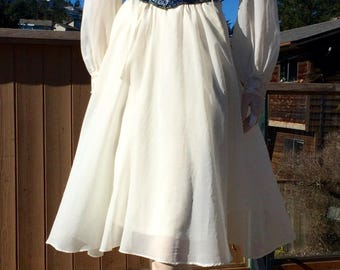 Vintage 80s Victorian Boho Indie Dress M L