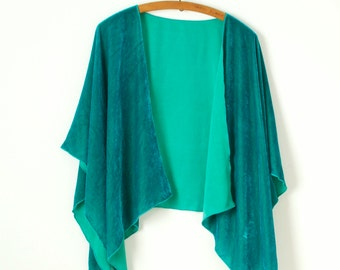 jade green hand dyed silk velvet ruana wrap shawl cape