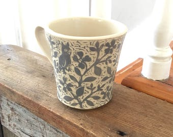 Handmade Mug Covered All Over with Hand Carved Grey Flowers, an Owl, a Rabbit and a Squirrel