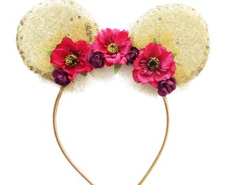 Minnie Ear Headband - Hot Pink and Purple Gold Sequin Ear Headband - Mouse Ear Headband - Toddler Headband - Mouse Ears - Flower Headband