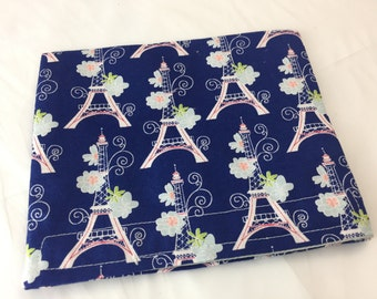Reusable Snack Bag - Reusable Baggie - Eiffel Tower  Snack Bag - Fabric Snack Bag - Reusable Fabric Snack Bag - Eiffel Tower Blue