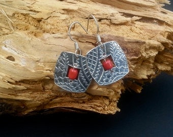 Rhapsody in Red - PMC Square Earrings - Fine Silver Small Dangles