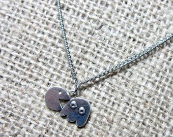 Pacman & Ghost Silver Necklace ~ Pendant on Stainless Steel Chain Pac-man Geek