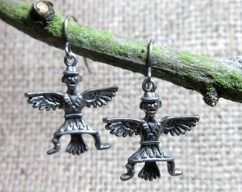 CLEARANCE Tribal Eagle Dancer Silver Earrings ~ Stainless Steel Hooks Native American Indian