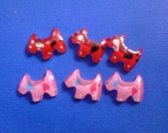 Kawaii colorful doggie terrier cabochons decoden deco diy charms  4 pcs