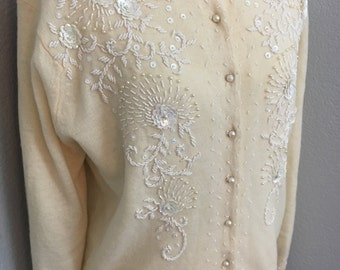 Vintage womens 1950s ivory beaded sequin cardigan sweater sz L Large