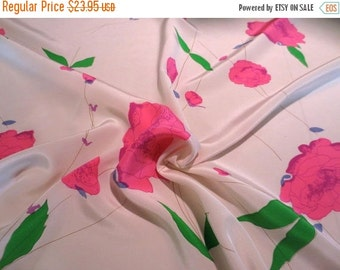 ON SALE Hot Pink and Green on Ivory Scattered Floral Print Pure Silk Crepe de Chine Fabric--One Yard