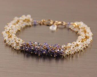 Tanzanite Rainbow Moonstone Bracelet, Gold Filled Vermeil, Gemstone Cluster, White Purple Lilac Lavender, Handmade Jewelry, Wire Wrapped